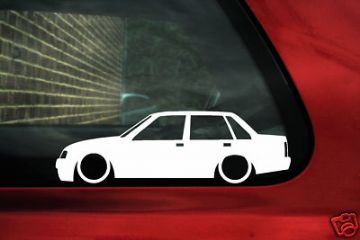 2x LOW 4 door saloon Vauxhall Nova / Opel Corsa A outline, silhouette stickers. Decals